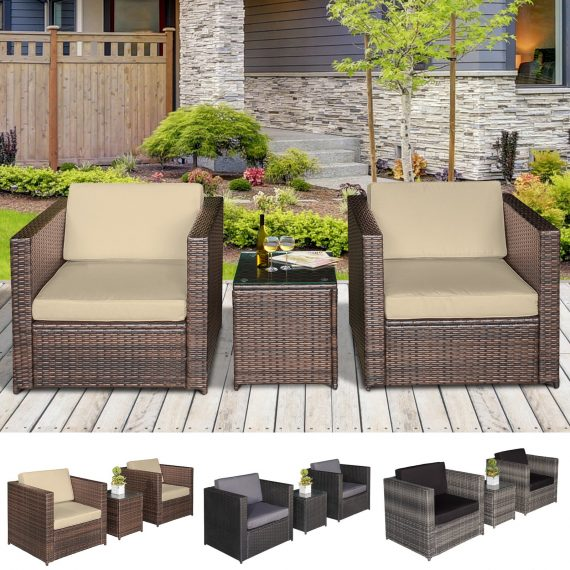 3Pcs Patio 2 Seater Rattan Sofa Garden Furniture Set Table w/ Cushions 5056029894965