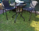 Croft Black Belsay 3 Piece Rattan Bistro Set