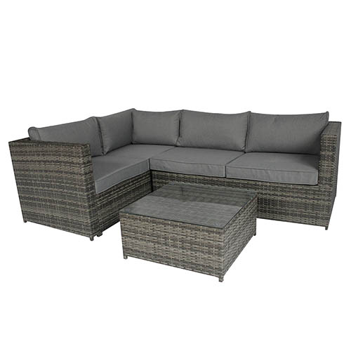 Charles Bentley Rattan Corner Sofa With Coffee Table Grey