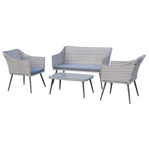 Outsunny 4-Seater Outdoor PE Rattan Table and Chairs Set Light Grey 5056399102370