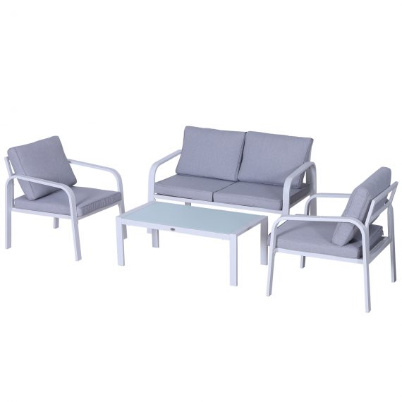 Outsunny 4-Seater Outdoor PE Rattan Table and Chairs Set White/Grey 5056399102172