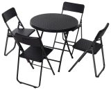Outsunny Rattan Effect Metal Outdoor Patio 2-Seat w/ Table Set Black 5056029894859