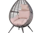 Outsunny PE Rattan Outdoor Egg Chair w/ Cushion Grey 5056029883297