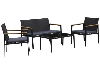 Outsunny 4-Seater Outdoor PE Rattan Table and Chairs Set Black 5056399101274