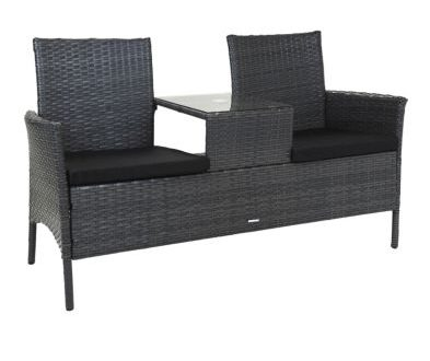 2 Seater Rattan Companion Garden Patio Bench - Grey