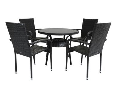 4 Seater Amalfi Rattan Garden Dining Furniture Set - Grey