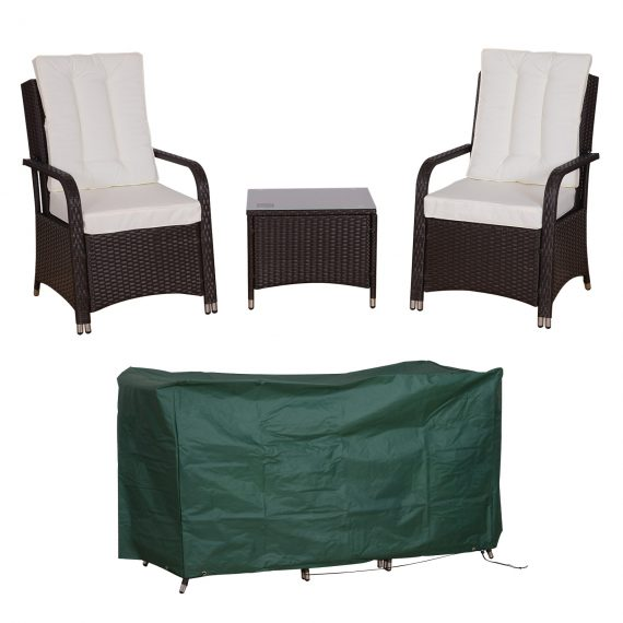 Outsunny 3PC Rattan Sofa set-Brown and Cream 5055974826175