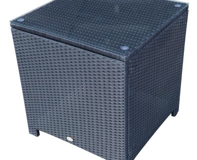 Outsunny Rattan Side Table W/ Metal Frame Tempered Glass in Black 5060348504313