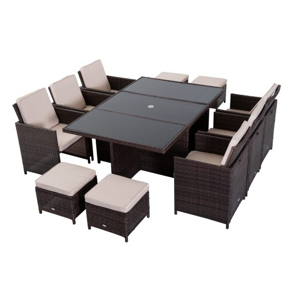 Outsunny 11 Pieces Rattan Dining Set, Aluminium-Brown 5056029849941