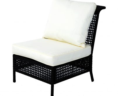 Outsunny Rattan Armless Chair, 80Lx60Wx82H cm-Black/Beige 5056029890615
