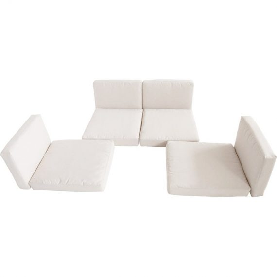 Outsunny Rattan Furniture Cushion Cover Replacement Set, 8 pcs-Cream 01-0378 5060265999681