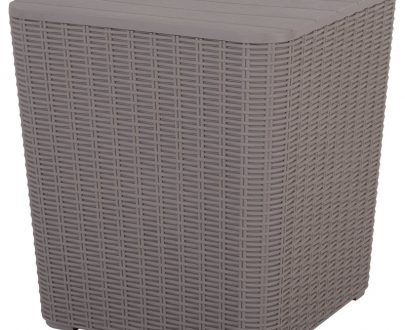 Outsunny 50L Outdoor Rattan-Effect Lift-Top Ice Cooler Table Grey 84B-365GY 5056029880609