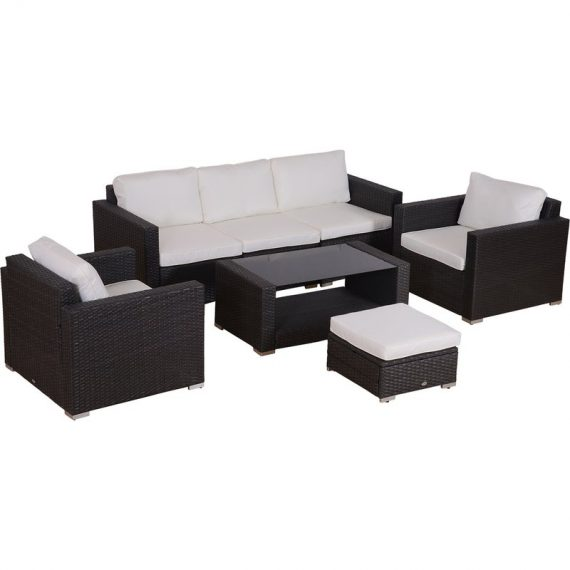 Outsunny 7 pc Rattan Sofa Set W/ Cushions-Grey/Beige 841-159 5055974826168