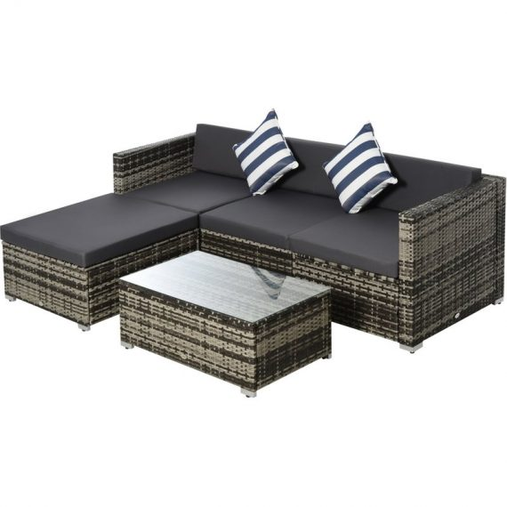 Outsunny 5PC Rattan Furniture Set Garden Sectional Wicker Sofa Glass Tepmpered Tea Table w/ Cushion Pillows 860-017V70 5056399139734