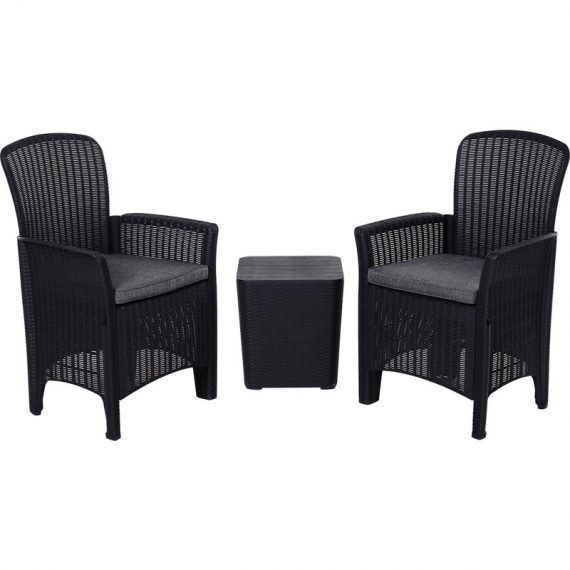 Outsunny 3-Piece Outdoor Garden Rattan Bistro Set Black 84B-373V70BK 5056029884904