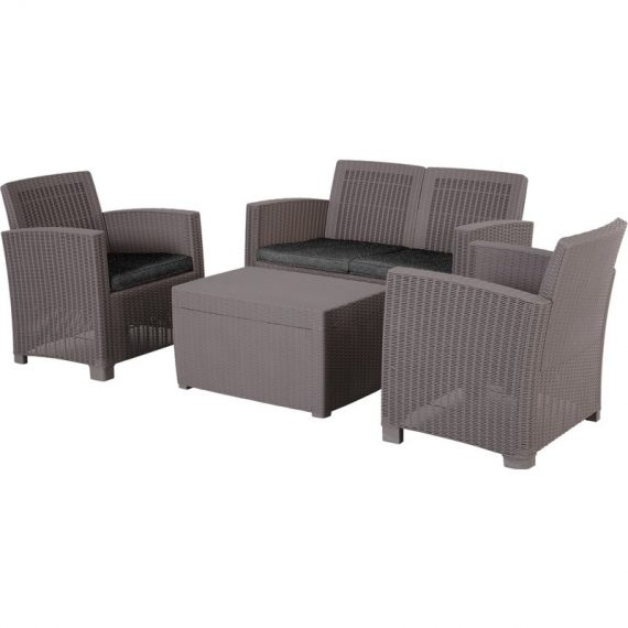 Outsunny 4-Seater Outdoor Garden PP Rattan Effect Furniture Set w/ Cushion Grey 84B-372GY 5056029880760