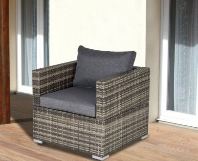 Outsunny Outdoor Patio Furniture Single Rattan Sofa Chair Padded Cushion All Weather for Garden Poolside Balcony Deep Grey 860-141V70CG 5056399144677