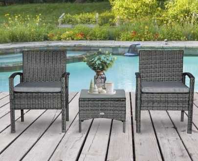 Outsunny 3PC Rattan Bistro Set Outdoor Wicker Sofa Chair Coffee Table Set Garden Patio Furniture w/ Cushion - Grey 863-039GY 5056399143250