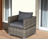 Outsunny Outdoor Patio Furniture Single Rattan Sofa Chair Padded Cushion All Weather for Garden Poolside Balcony Deep Grey 5056399144677