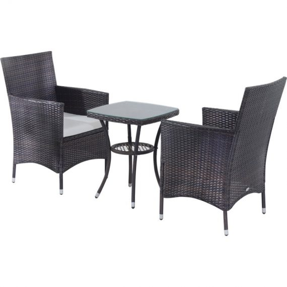 Outsunny 3 Pcs Rattan Bistro Set: 1 x Table, 2 x Chairs-Brown 841-094BN 5055974822092