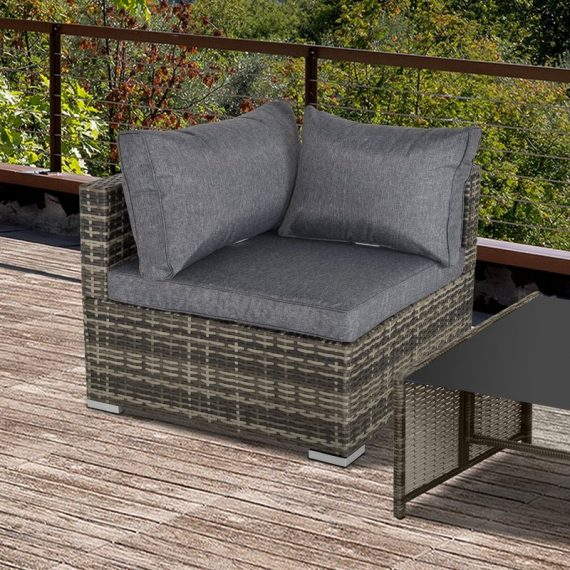 Outsunny PE Rattan Wicker Corner Sofa Garden Furniture Single Sofa Chair w/ Cushions, Deep Grey 860-137CG 5056399144257