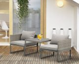 Outsunny Rattan Wicker Adjustable Sofa and Coffee Table Set Outdoor Garden Patio Furniture Lounge Conversation Seat Grey 863-057 5056399148316