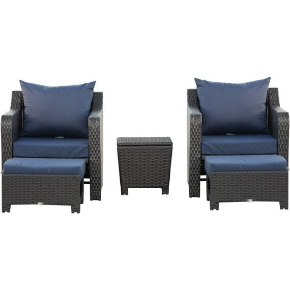 Outsunny 5pcs Outdoor Rattan Wicker Furniture Sofa Set w/ Storage Function Side Table & Ottoman for Patios, Garden, Backyard, Deep Coffee 860-160 5056399150265