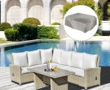 Outsunny 5 Pieces Outdoor PE Rattan Patio Furniture Set L-Shape Lounge Sofa Tempered Glass Coffee Table Conversation Set with Olefin Cushion 860-167 5056399146237
