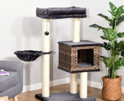 PawHut Cat tree Tower 101cm Climbing Activity Center Kitten with Sisal Scratching Post Condo Perch Hanging Balls Toy Cushion PE Rattan D30-375 5056399147548
