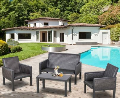 Outsunny 4 PCs Aluminum PE Rattan Wicker Sofa Set Outdoor Conservatory Furniture Lawn Patio Coffee Table, Deep Grey 860-166V70 5056399150180